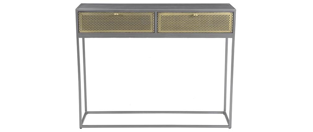Consola industrial en metal dorado y gris MAGIC