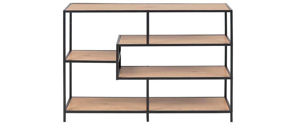 Consola industrial metal negro y madera L114 cm TRESCA