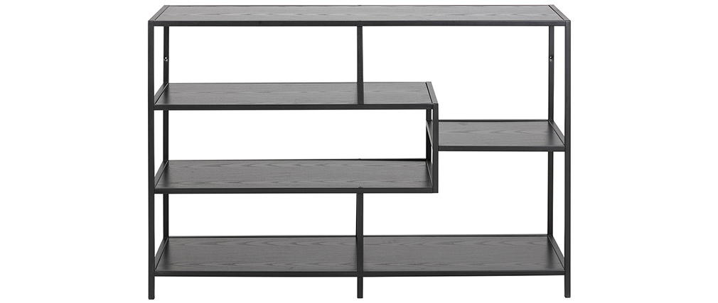Consola industrial metal negro y madera negra L114 cm TRESCA