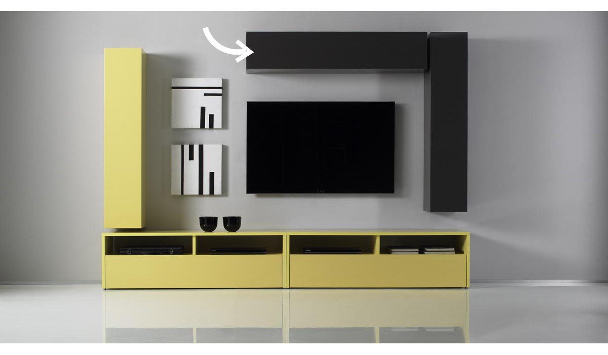 Elemento de pared TV COLORED horizontal o vertical Lacado Gris antracita