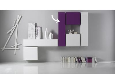 Elemento de pared TV COLORED horizontal o vertical Lacado Lila