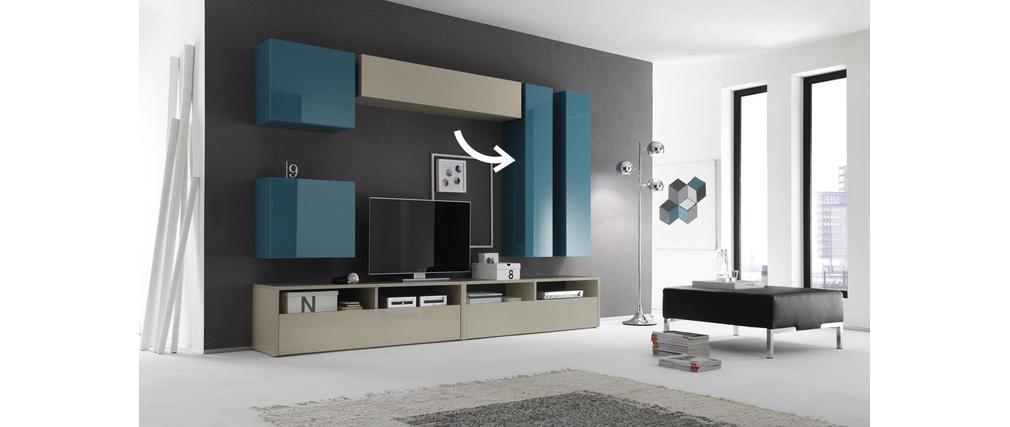 Elemento de pared TV COLORED horizontal o vertical Lacado Turquesa
