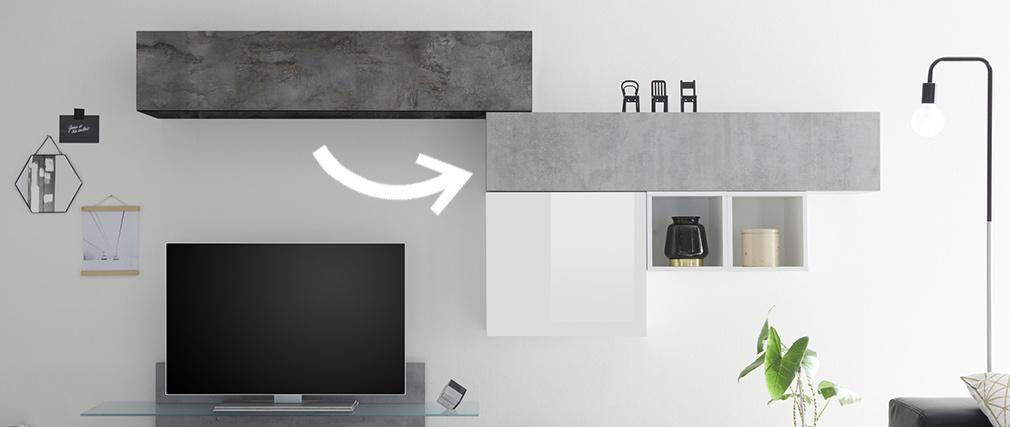 Elemento de pared TV horizontal acabado cemento ETERNEL