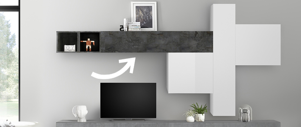 Elemento de pared TV horizontal acabado envejecido ETERNEL