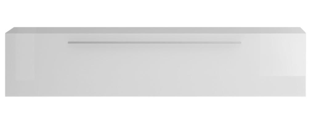 Elemento de pared TV horizontal blanco brillante con tirador ETERNEL