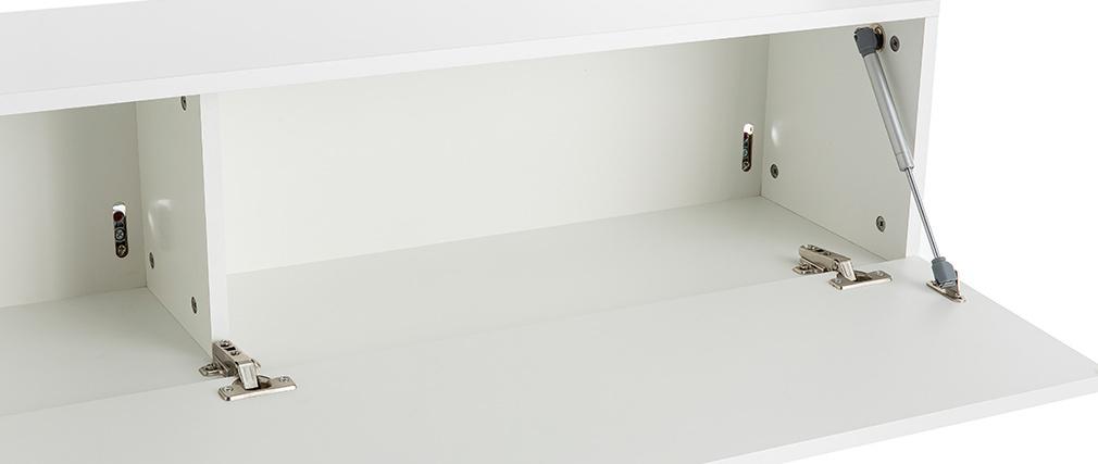 Elemento de pared TV horizontal lacado blanco brillante ETERNEL