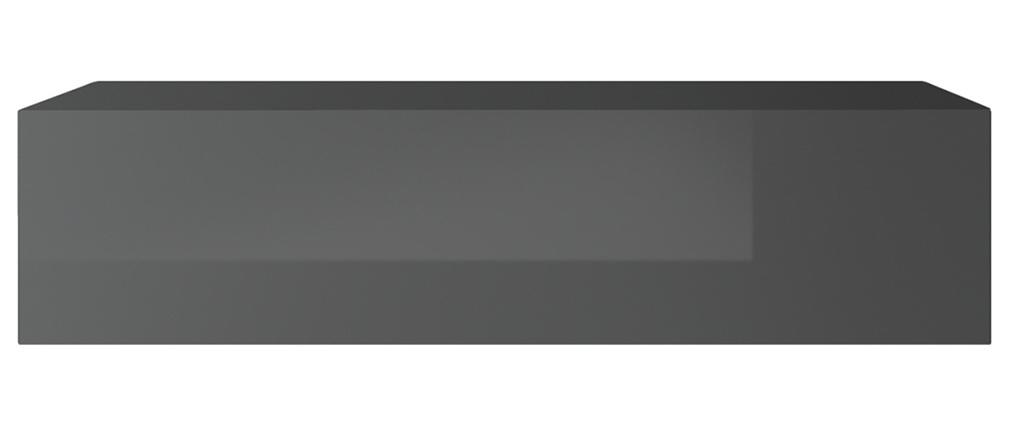 Elemento de pared TV horizontal lacado gris brillante ETERNEL