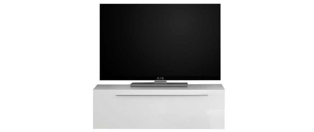 Elemento de pared TV lacado blanco brillante L95 cm ETERNEL