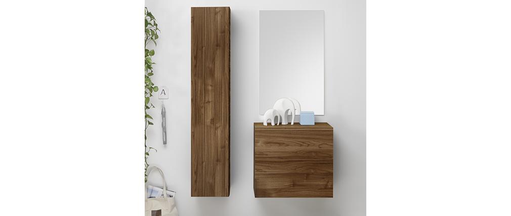 Elemento de pared TV vertical acabado madera oscura ETERNEL