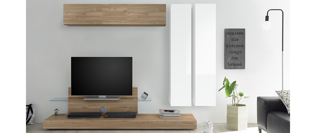 Elemento de pared TV vertical lacado blanco ETERNEL