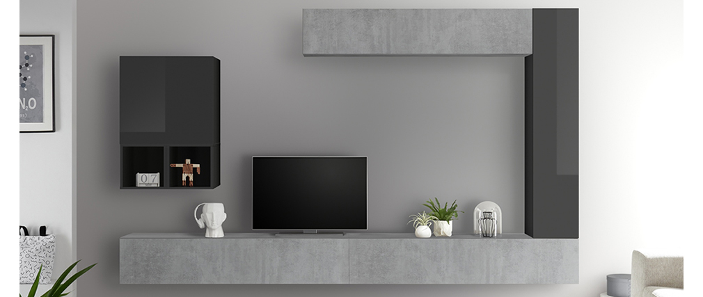 Elemento de pared TV vertical lacado gris ETERNEL