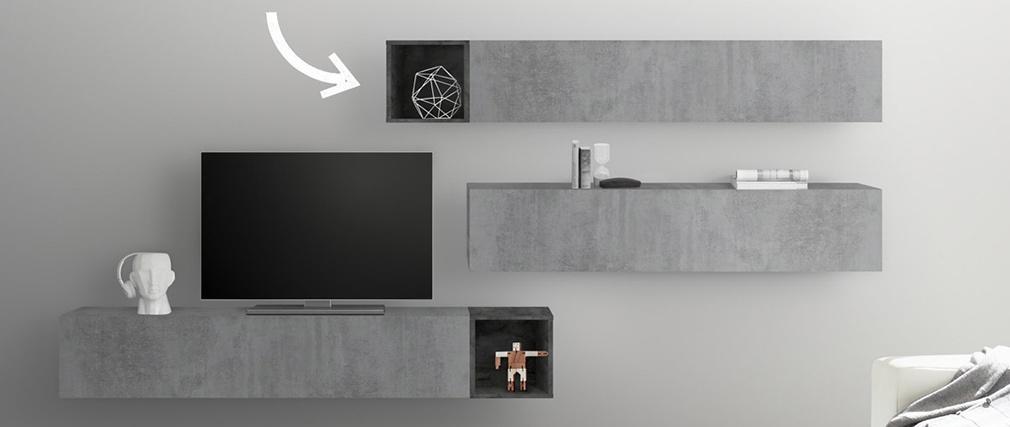 Elementos de pared cuadrados lacado gris (lote de 2) ETERNEL