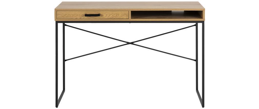 Escritorio con cajón y almacenaje en metal y madera TRESCA
