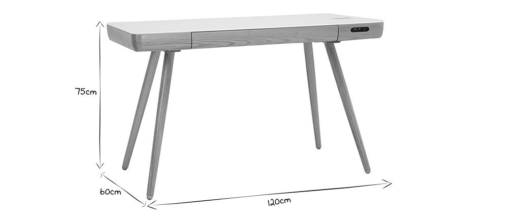 Escritorio conectado multimedia - Cristal blanco y madera CLEVER