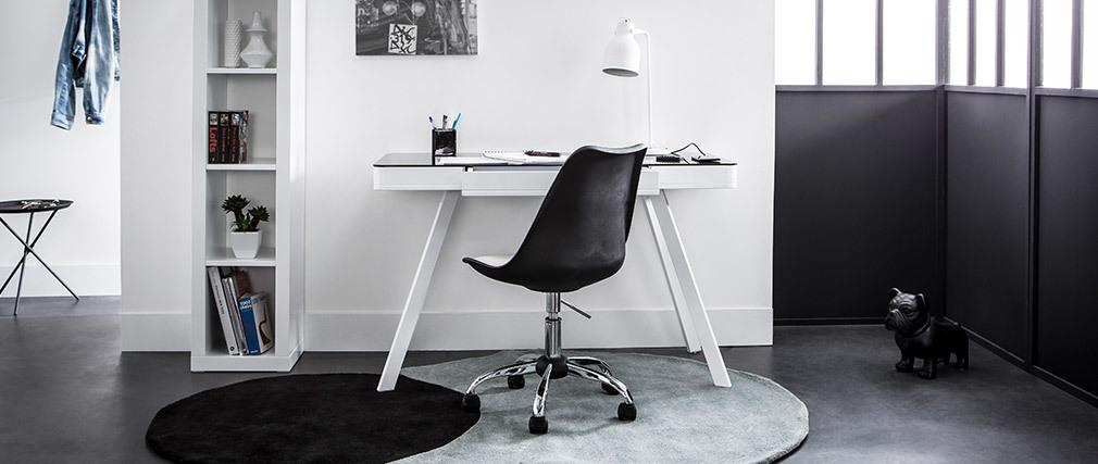 Escritorio conectado multimedia - Cristal negro y metal blanco CLEVER