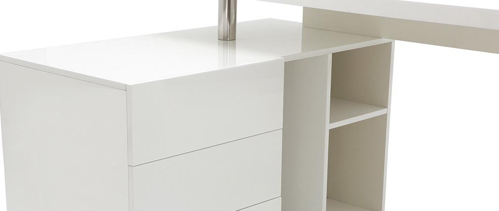 Escritorio diseño blanco lacado almacenaje lado izquierdo MAXI