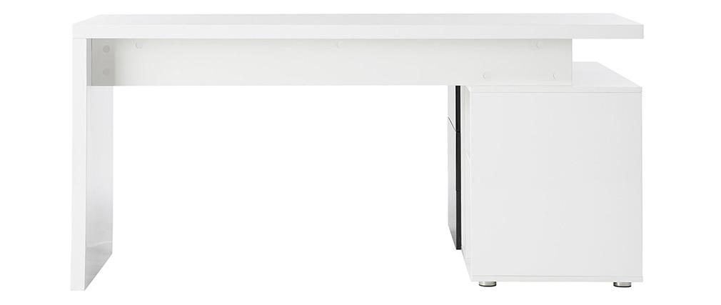Escritorio diseño blanco y negro lacado almacenaje lado izquierdo MAXI