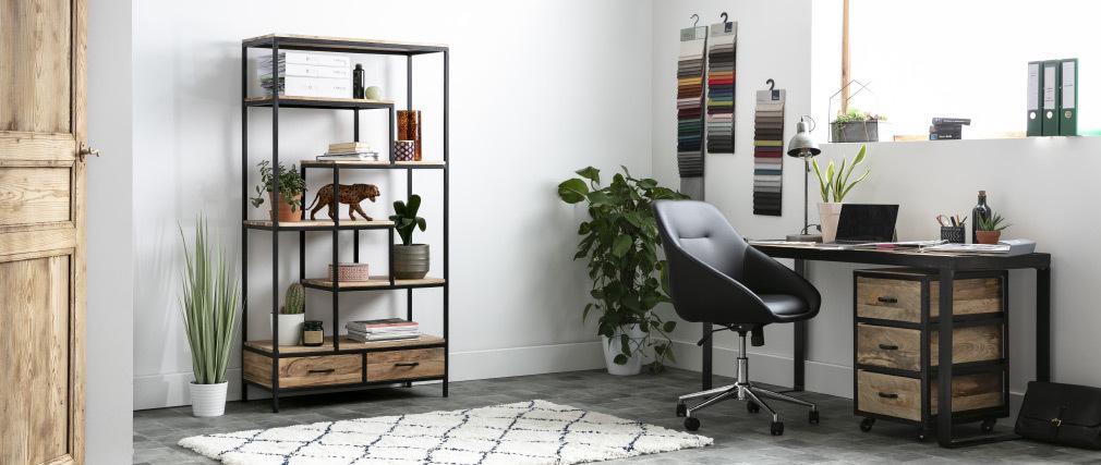 Escritorio diseño industrial madera maciza L156 cm INDUSTRIA