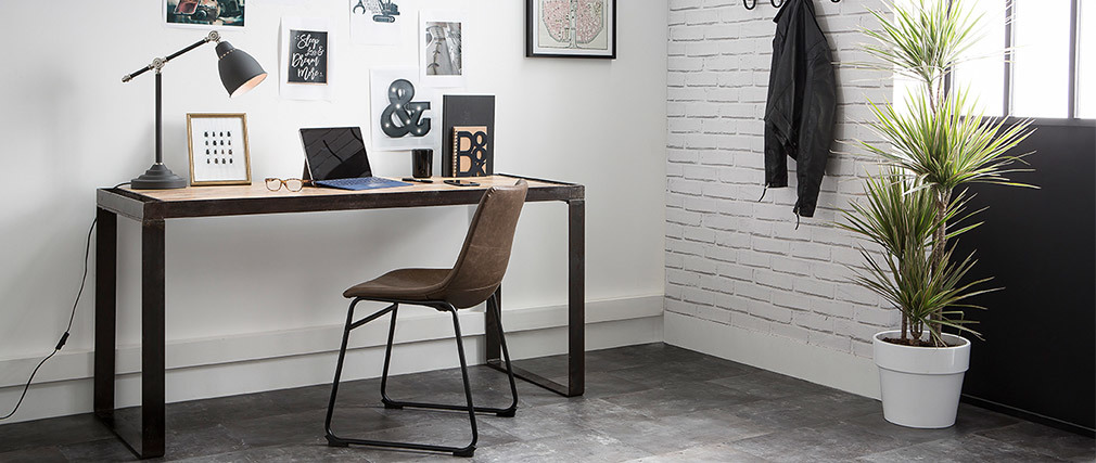 Escritorio diseño industrial madera maciza L156 INDUSTRIA