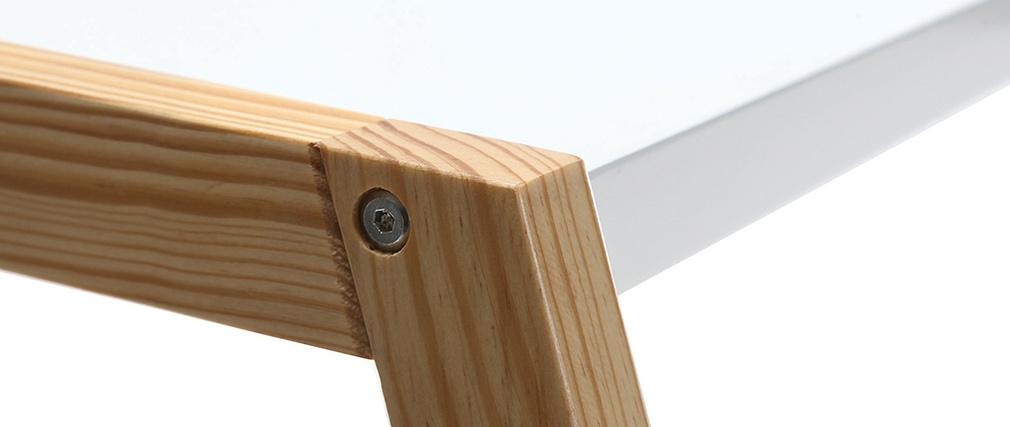 Escritorio diseño lacado blanco mate y madera STOKA