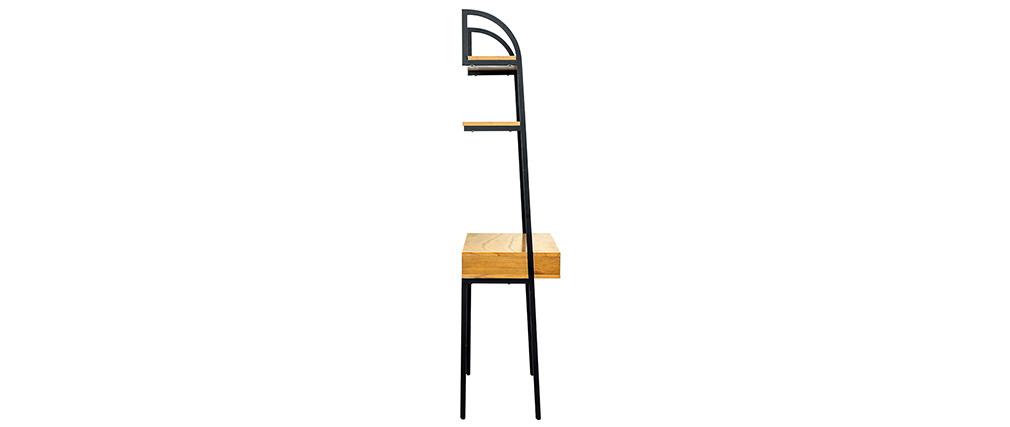 Escritorio - estantería madera y metal negro MARLEE