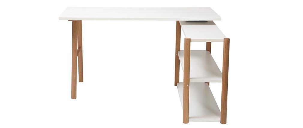 Escritorio giratorio diseño escandinavo blanco y roble GILDA