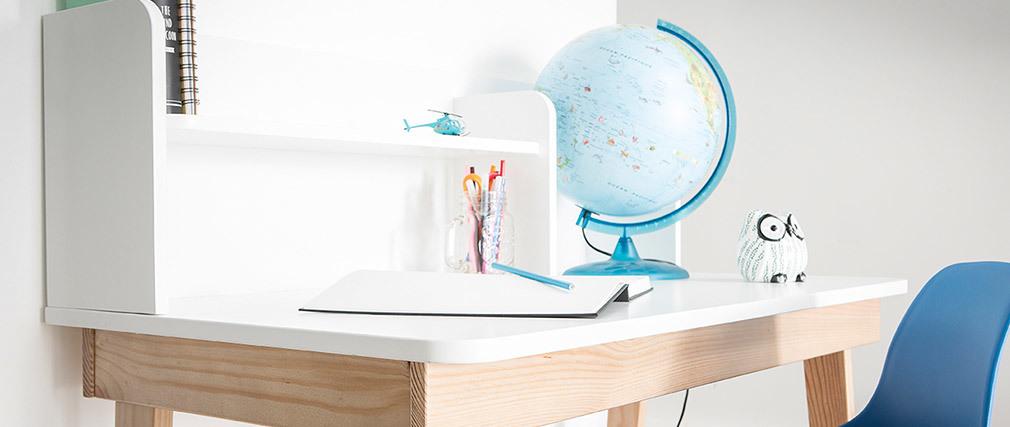 Escritorio infantil blanco y madera L105 cm KUNG