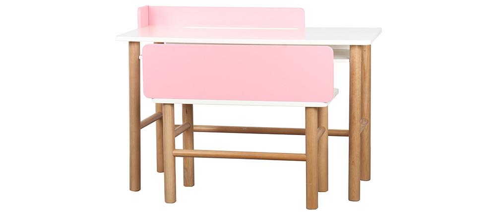 Escritorio infantil con banco rosa y madera clara BERTY