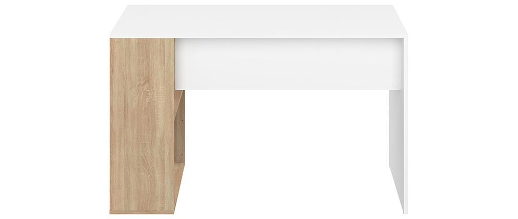 Escritorio moderno blanco y madera clara L114 cm ROUSSO