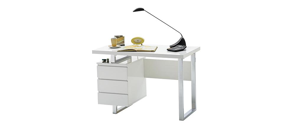 Escritorio moderno con almacenaje blanco lacado brillante L115 cm KANY