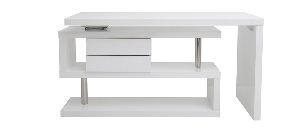 Escritorio moderno modular con almacenaje 2 cajones amovible lacado blanco MAX