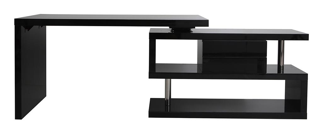 Escritorio moderno modular con almacenaje 2 cajones amovible lacado negro MAX