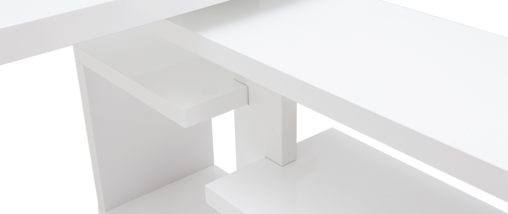 Escritorio moderno pivotante lacado blanco brillante L147-217 cm HALTON