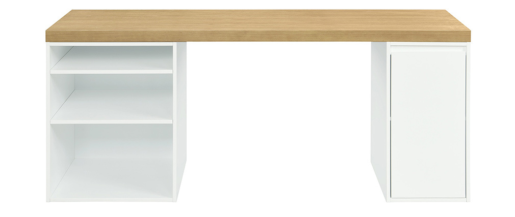 Escritorio nórdico blanco con almacenaje cerrado con puerta y almacenaje abierto RACKEL