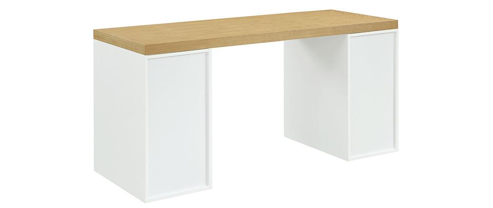 Escritorio nórdico con 2 espacios cerrados blancos RACKEL