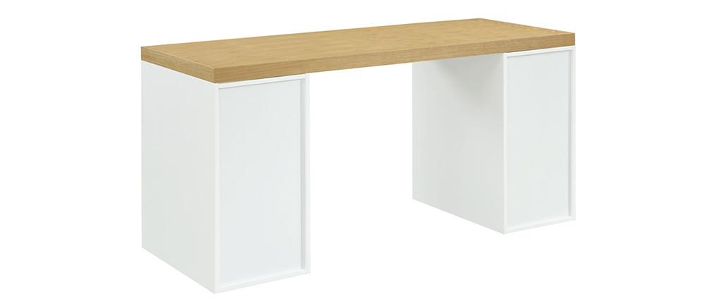 Escritorio nórdico con cajón y espacio cerrado blanco RACKEL