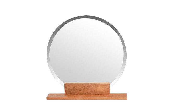 Espejo de cuarto de ba o redondo en teca dise o aoki miliboo - Espejo redondo bano ...