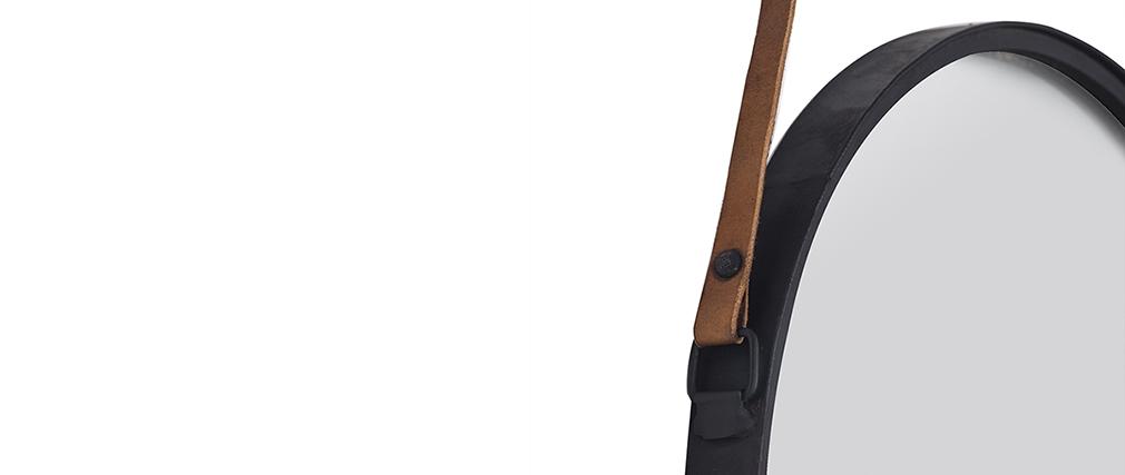 Espejo redondo moderno metal negro 40cm KARL