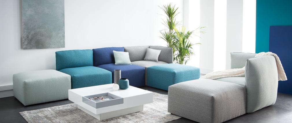 Esquina de sofá moderno tejido azul claro MODULO