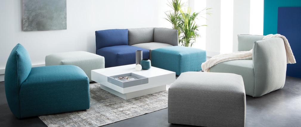 Esquina de sofá moderno tejido azul oscuro MODULO
