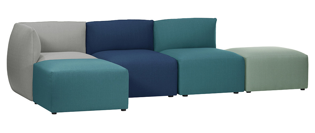 Esquina de sofá moderno tejido azul petróleo MODULO