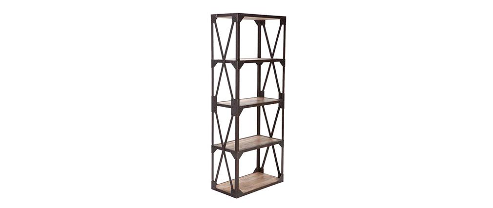 Estantería - biblioteca estilo industrial de metal y madera ATELIER