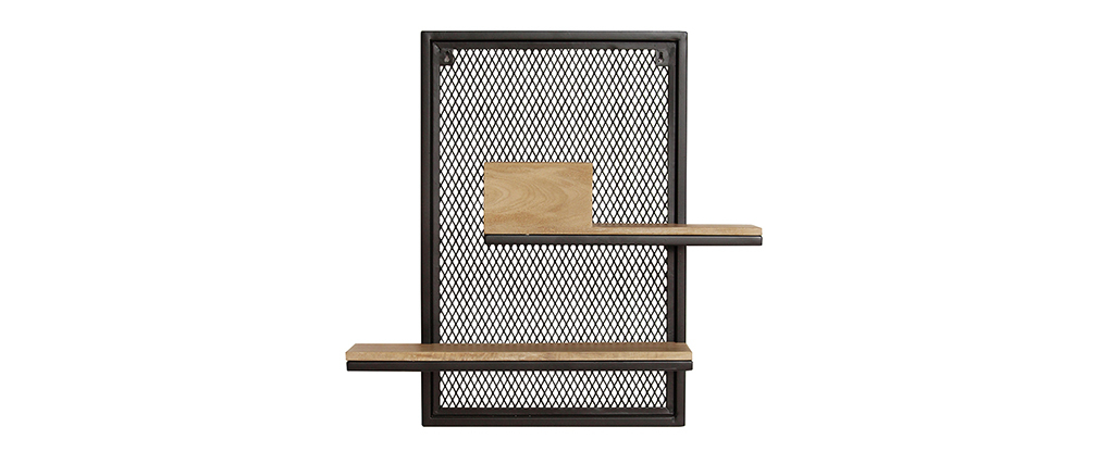 Estantería de pared doble en metal y mango macizo A60 cm RACK