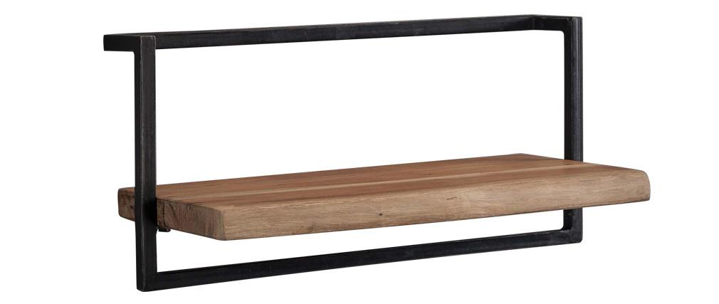 Estantería de pared en madera maciza y metal negro ERNEST