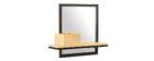 Estantería de pared industrial con espejo en metal y mango macizo L50 cm RACK