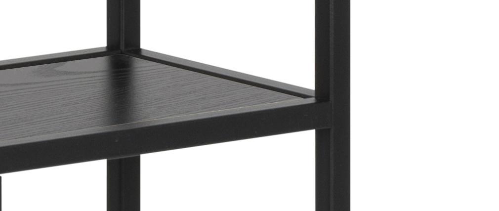 Estantería de pared industrial metal y madera negra TRESCA