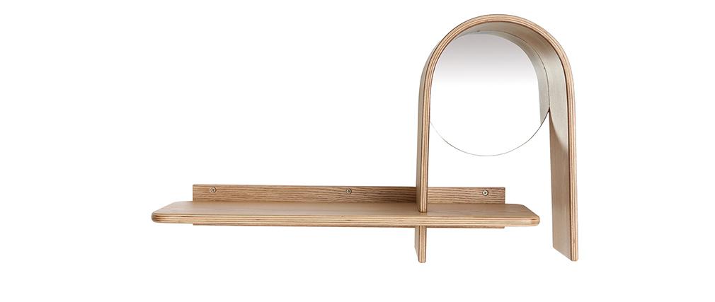 Estantería de pared moderna fresno con espejo SILMA