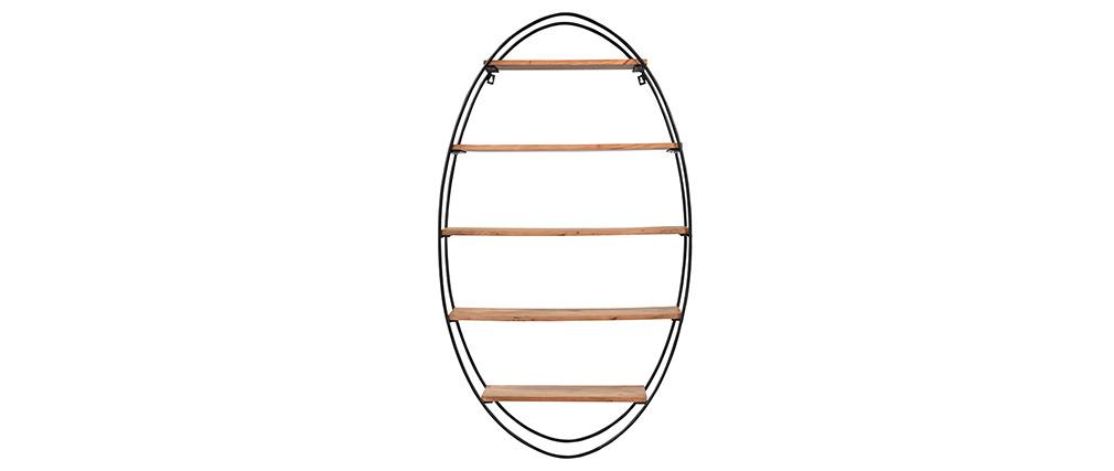 Estantería de pared oval en acacia y metal A130 cm HANG
