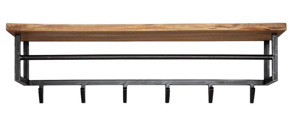 Estantería de pared - perchero industrial en madera maciza y metal negro LORD