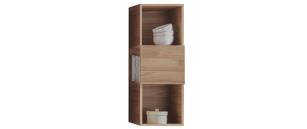 Estantería de pared vertical 3 espacios de almacenaje acabado madera clara ETERNEL